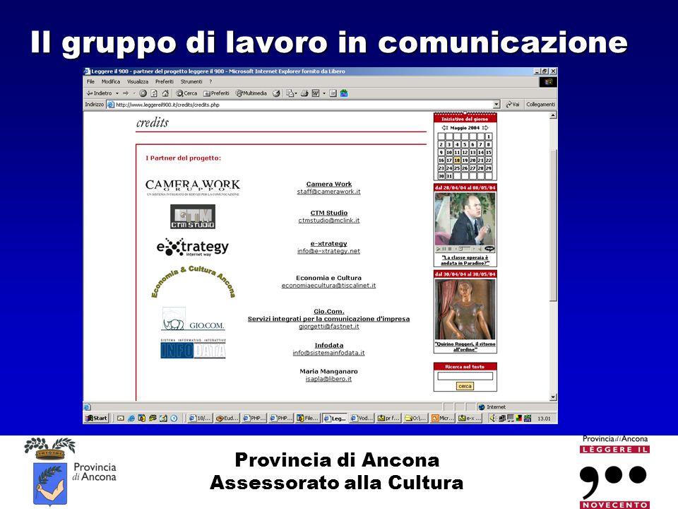 Provincia di Ancona Assessorato alla Cultura Il gruppo di lavoro in comunicazione