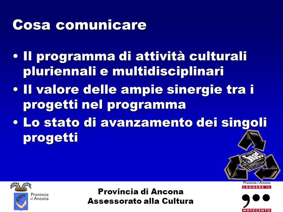 Provincia di Ancona Assessorato alla Cultura Cosa comunicare Il programma di attività culturali pluriennali e multidisciplinariIl programma di attivit