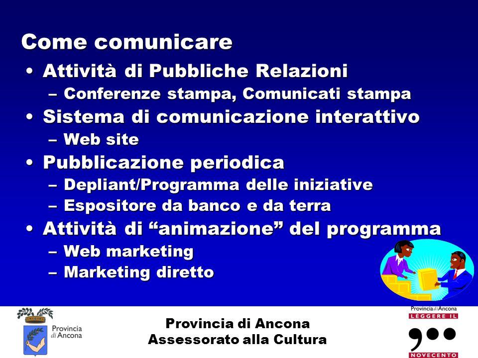 Provincia di Ancona Assessorato alla Cultura Come comunicare Attività di Pubbliche RelazioniAttività di Pubbliche Relazioni –Conferenze stampa, Comuni