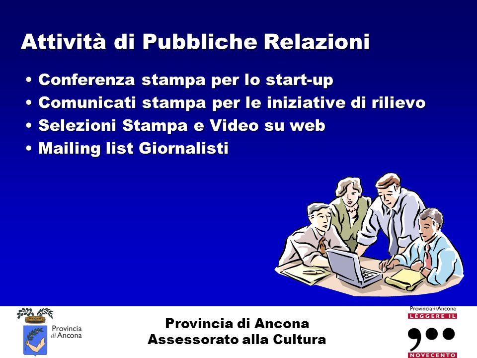 Provincia di Ancona Assessorato alla Cultura Attività di Pubbliche Relazioni Conferenza stampa per lo start-up Conferenza stampa per lo start-up Comun