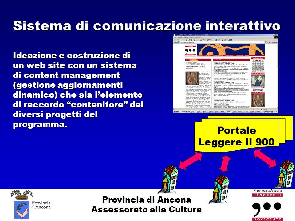 Provincia di Ancona Assessorato alla Cultura Sistema di comunicazione interattivo Ideazione e costruzione di un web site con un sistema di content man