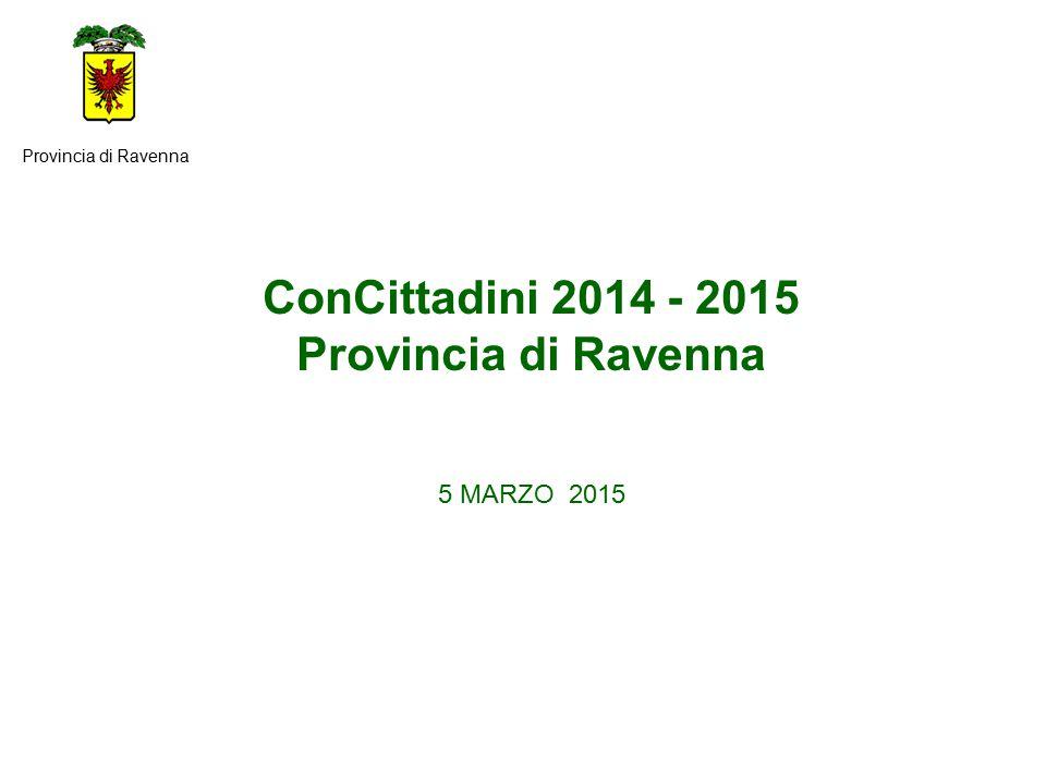 ConCittadini 2014 - 2015 Provincia di Ravenna 5 MARZO 2015 Provincia di Ravenna