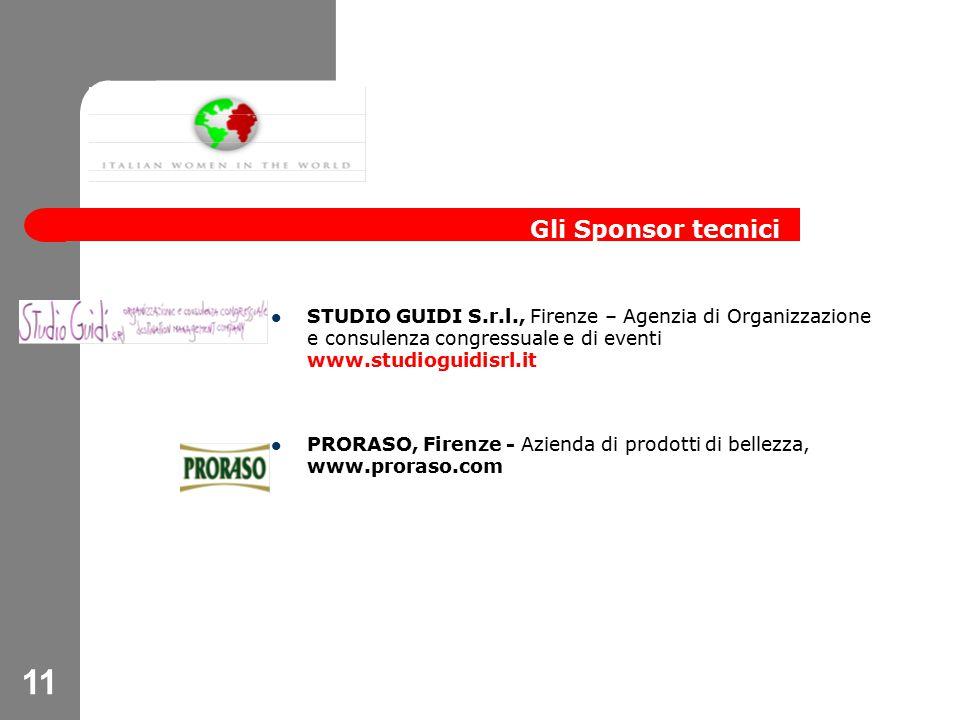 11 STUDIO GUIDI S.r.l., Firenze – Agenzia di Organizzazione e consulenza congressuale e di eventi www.studioguidisrl.it PRORASO, Firenze - Azienda di prodotti di bellezza, www.proraso.com Gli Sponsor tecnici