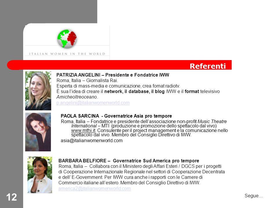 12 Referenti PATRIZIA ANGELINI – Presidente e Fondatrice IWW Roma, Italia – Giornalista Rai.