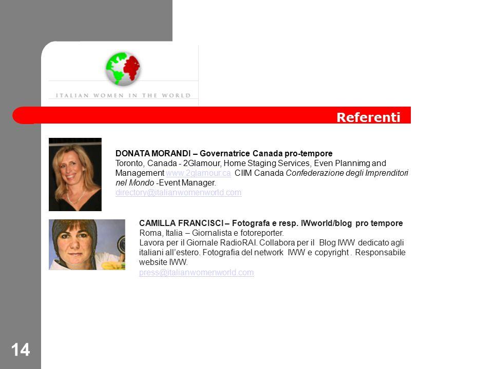 14 Referenti CAMILLA FRANCISCI – Fotografa e resp.