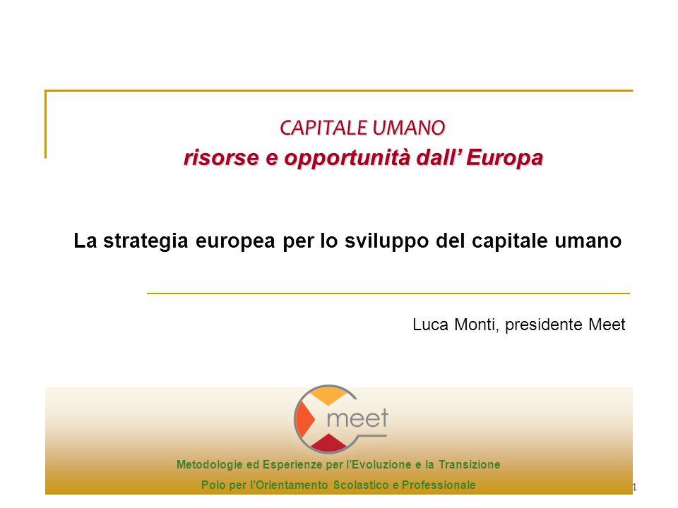 1 Luca Monti, presidente Meet CAPITALE UMANO risorse e opportunità dall' Europa La strategia europea per lo sviluppo del capitale umano Metodologie ed Esperienze per l'Evoluzione e la Transizione Polo per l'Orientamento Scolastico e Professionale