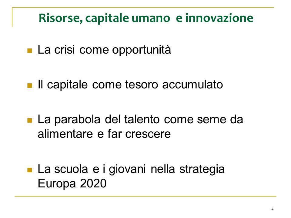 4 Risorse, capitale umano e innovazione La crisi come opportunità Il capitale come tesoro accumulato La parabola del talento come seme da alimentare e far crescere La scuola e i giovani nella strategia Europa 2020