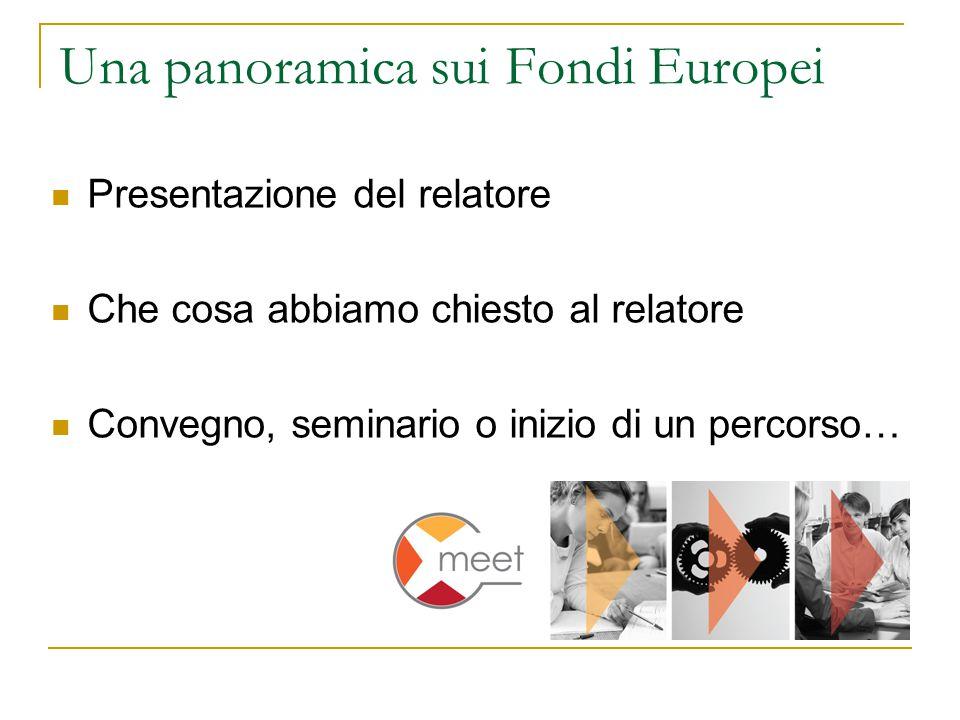 Una panoramica sui Fondi Europei Presentazione del relatore Che cosa abbiamo chiesto al relatore Convegno, seminario o inizio di un percorso…