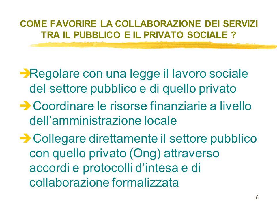 6 COME FAVORIRE LA COLLABORAZIONE DEI SERVIZI TRA IL PUBBLICO E IL PRIVATO SOCIALE .