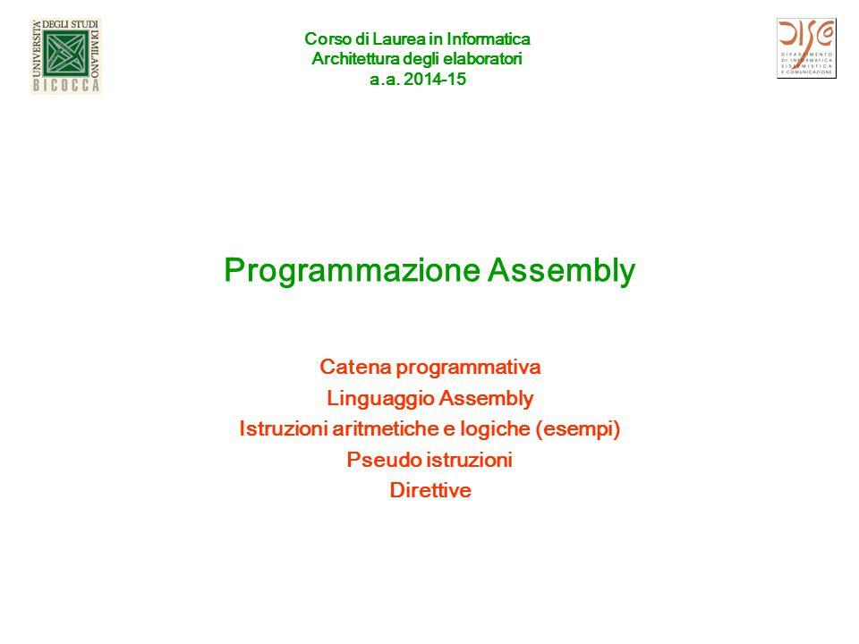 Corso di Laurea in Informatica Architettura degli elaboratori a.a. 2014-15 Programmazione Assembly Catena programmativa Linguaggio Assembly Istruzioni