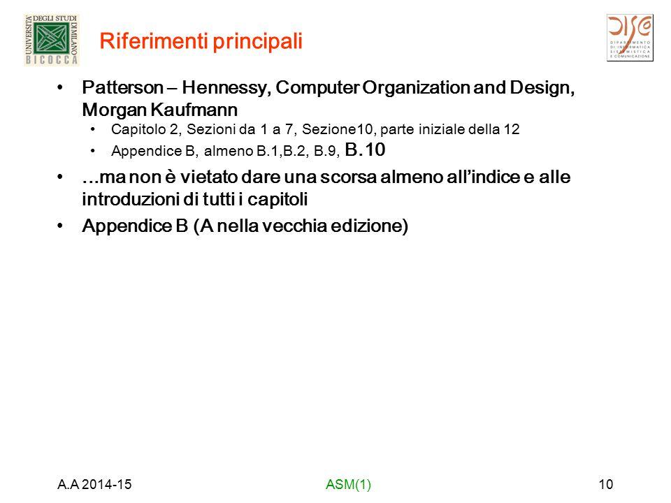 Riferimenti principali Patterson – Hennessy, Computer Organization and Design, Morgan Kaufmann Capitolo 2, Sezioni da 1 a 7, Sezione10, parte iniziale