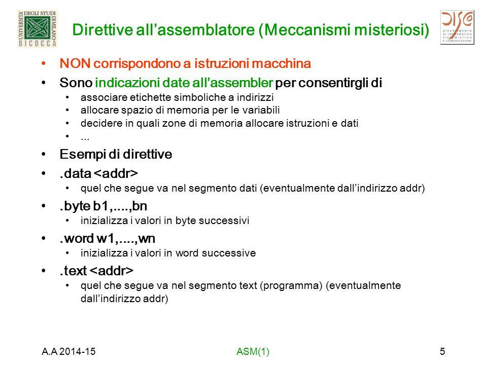 Direttive all'assemblatore (Meccanismi misteriosi) NON corrispondono a istruzioni macchina Sono indicazioni date all'assembler per consentirgli di ass