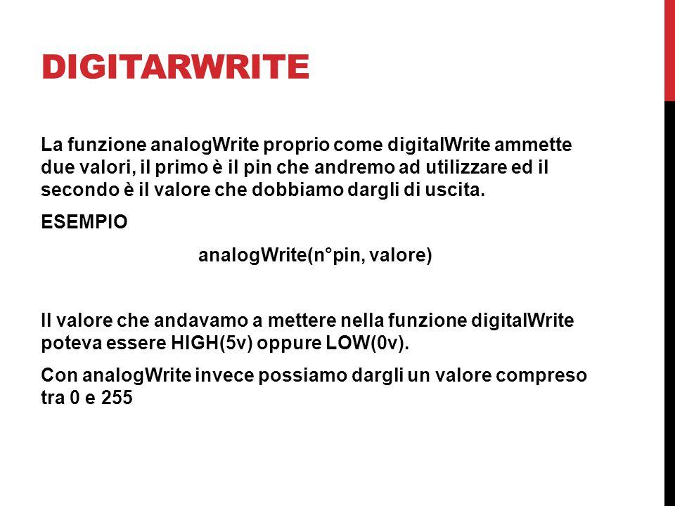 DIGITARWRITE La funzione analogWrite proprio come digitalWrite ammette due valori, il primo è il pin che andremo ad utilizzare ed il secondo è il valo