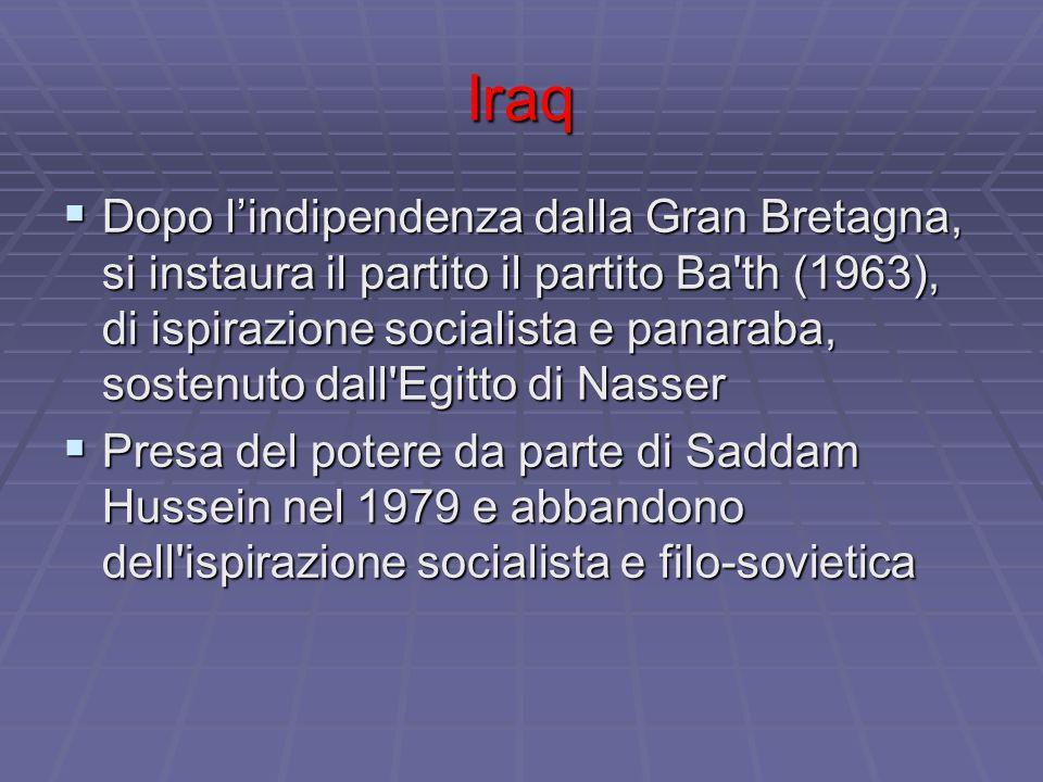 Iraq  Dopo l'indipendenza dalla Gran Bretagna, si instaura il partito il partito Ba'th (1963), di ispirazione socialista e panaraba, sostenuto dall'E