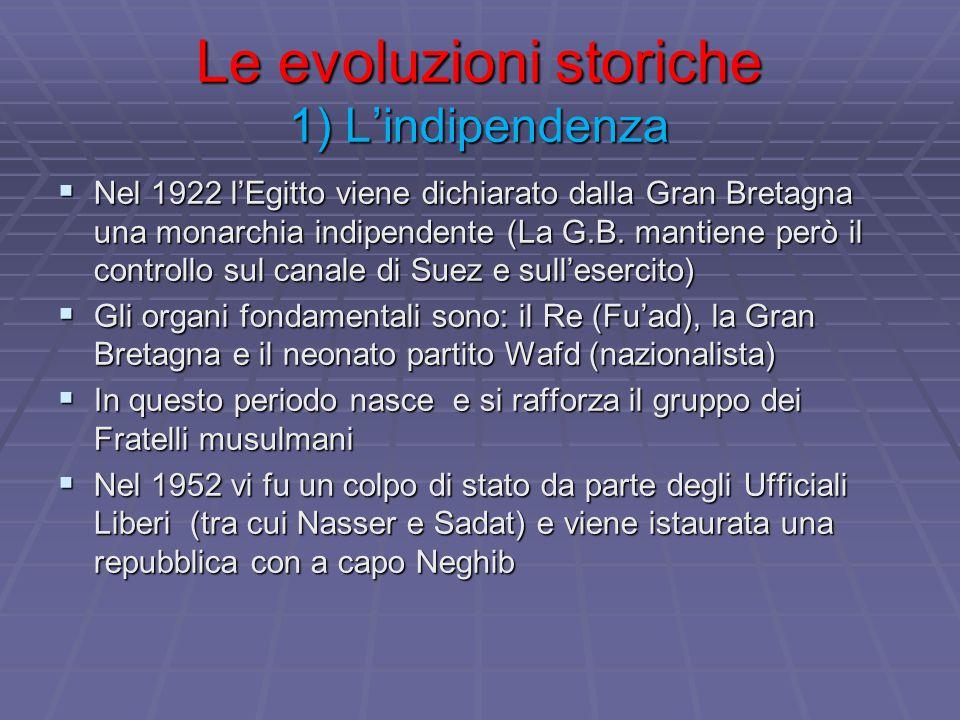Le evoluzioni storiche 1) L'indipendenza  Nel 1922 l'Egitto viene dichiarato dalla Gran Bretagna una monarchia indipendente (La G.B. mantiene però il