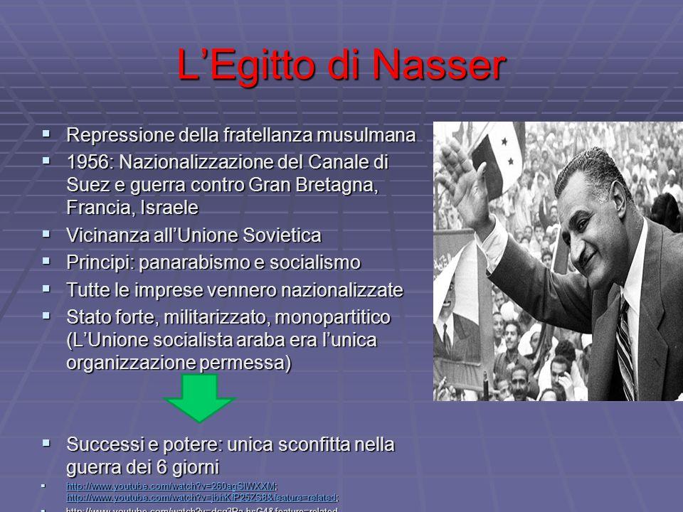 L'Egitto di Nasser  Repressione della fratellanza musulmana  1956: Nazionalizzazione del Canale di Suez e guerra contro Gran Bretagna, Francia, Isra