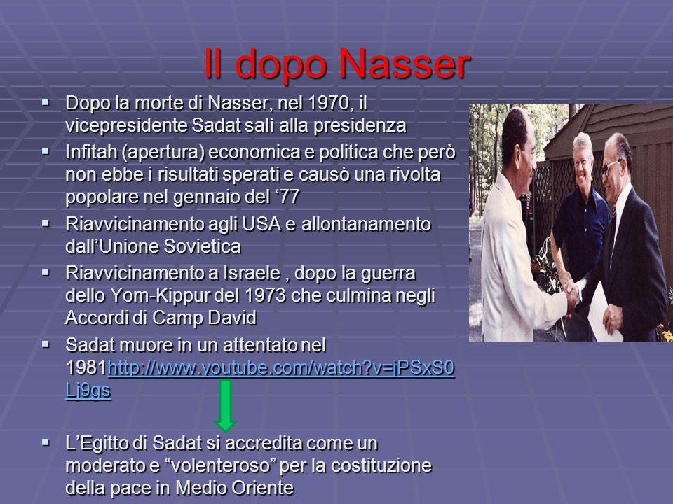 Il dopo Nasser  Dopo la morte di Nasser, nel 1970, il vicepresidente Sadat salì alla presidenza  Infitah (apertura) economica e politica che però no