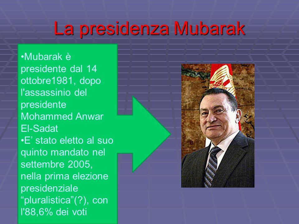 La presidenza Mubarak Mubarak è presidente dal 14 ottobre1981, dopo l'assassinio del presidente Mohammed Anwar El-Sadat E' stato eletto al suo quinto