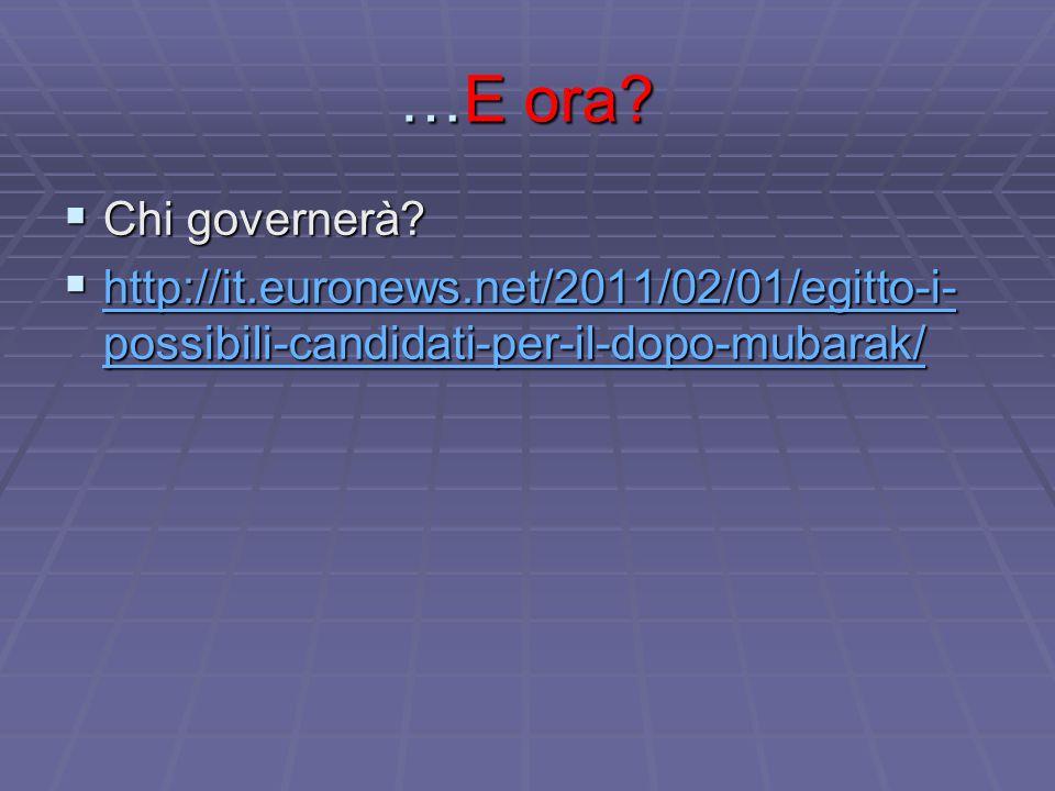 …E ora?  Chi governerà?  http://it.euronews.net/2011/02/01/egitto-i- possibili-candidati-per-il-dopo-mubarak/ http://it.euronews.net/2011/02/01/egit