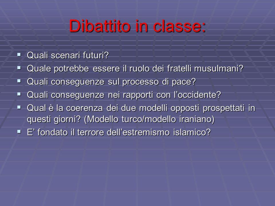 Dibattito in classe:  Quali scenari futuri?  Quale potrebbe essere il ruolo dei fratelli musulmani?  Quali conseguenze sul processo di pace?  Qual