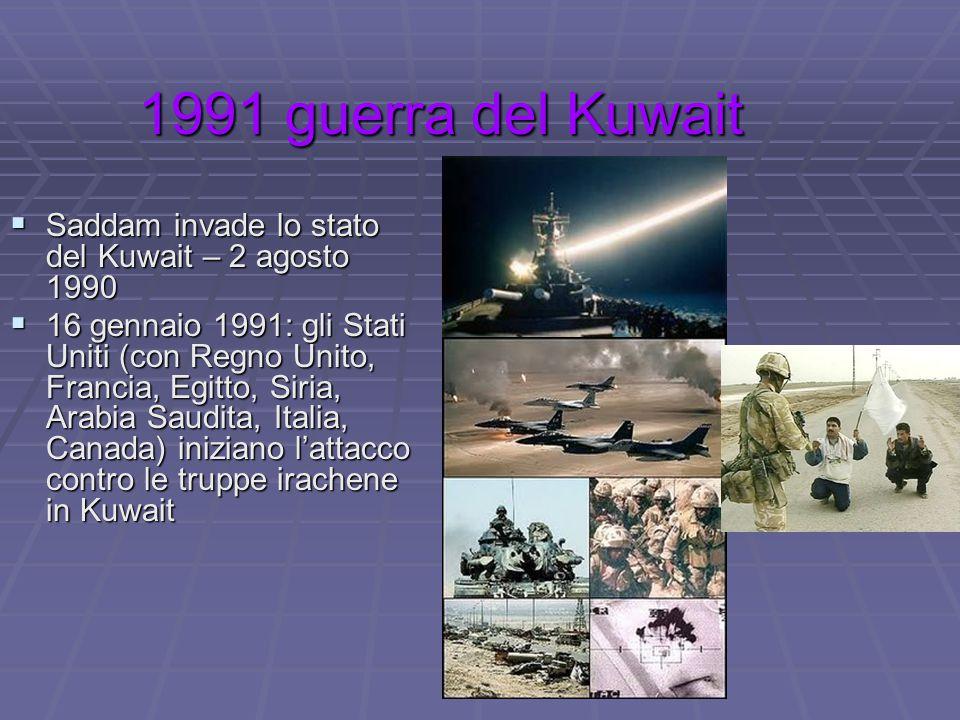 1991 guerra del Kuwait 1991 guerra del Kuwait  Saddam invade lo stato del Kuwait – 2 agosto 1990  16 gennaio 1991: gli Stati Uniti (con Regno Unito,