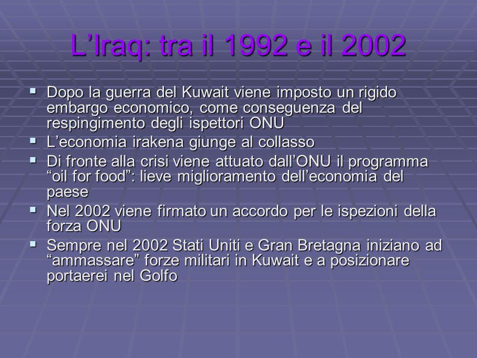 L'Iraq: tra il 1992 e il 2002  Dopo la guerra del Kuwait viene imposto un rigido embargo economico, come conseguenza del respingimento degli ispettor