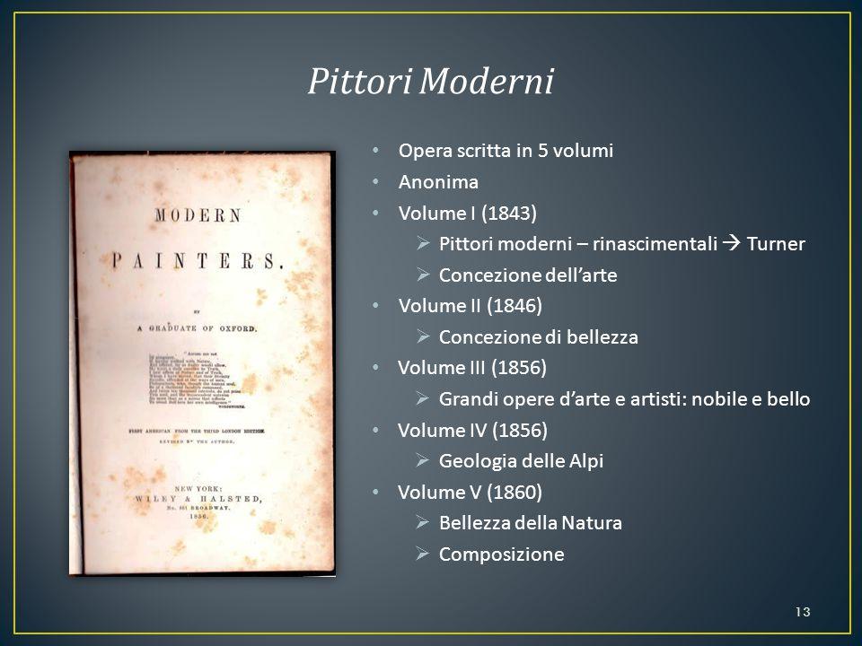 Opera scritta in 5 volumi Anonima Volume I (1843)  Pittori moderni – rinascimentali  Turner  Concezione dell'arte Volume II (1846)  Concezione di