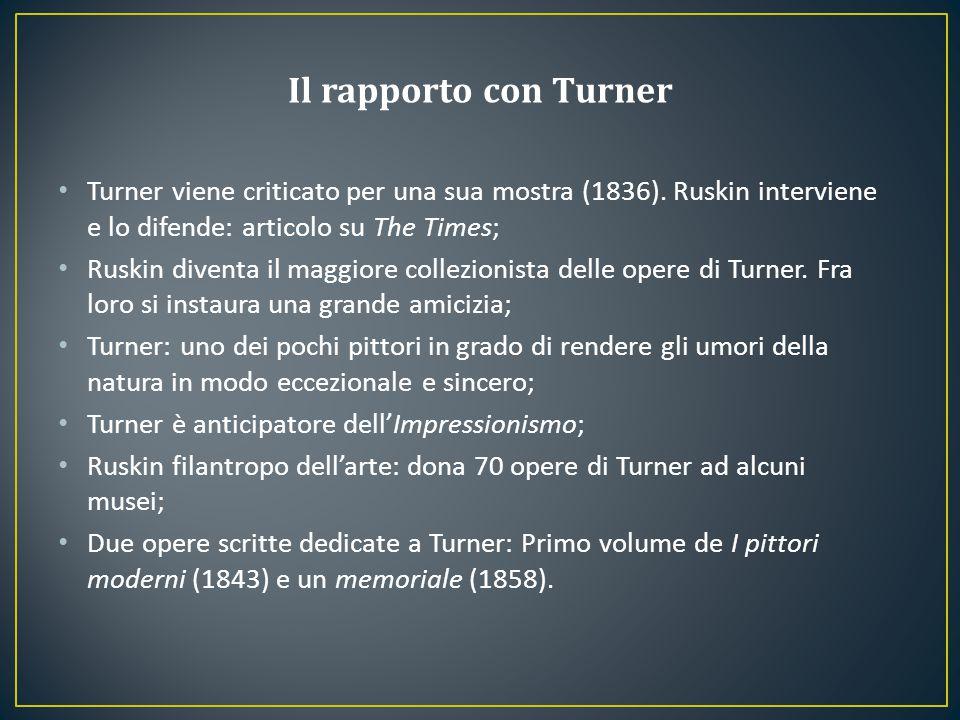 Turner viene criticato per una sua mostra (1836). Ruskin interviene e lo difende: articolo su The Times; Ruskin diventa il maggiore collezionista dell