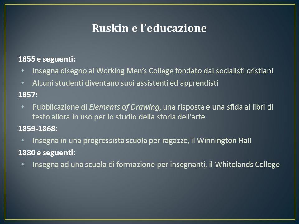 1855 e seguenti: Insegna disegno al Working Men's College fondato dai socialisti cristiani Alcuni studenti diventano suoi assistenti ed apprendisti 18
