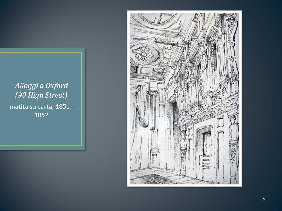 1869: Primo professore di Fine art dell'università di Oxford 1871: Fonda una propria scuola d'arte (qualsiasi forma di espressione) a Oxford (The Ruskin School of Drawing and Fine Art) 1879: Ruskin si dimette da Oxford 1883: Riprende la sua cattedra all'università 1884: Si dimettersi nuovamente, cause scarsa salute e problemi con le istituzioni universitarie