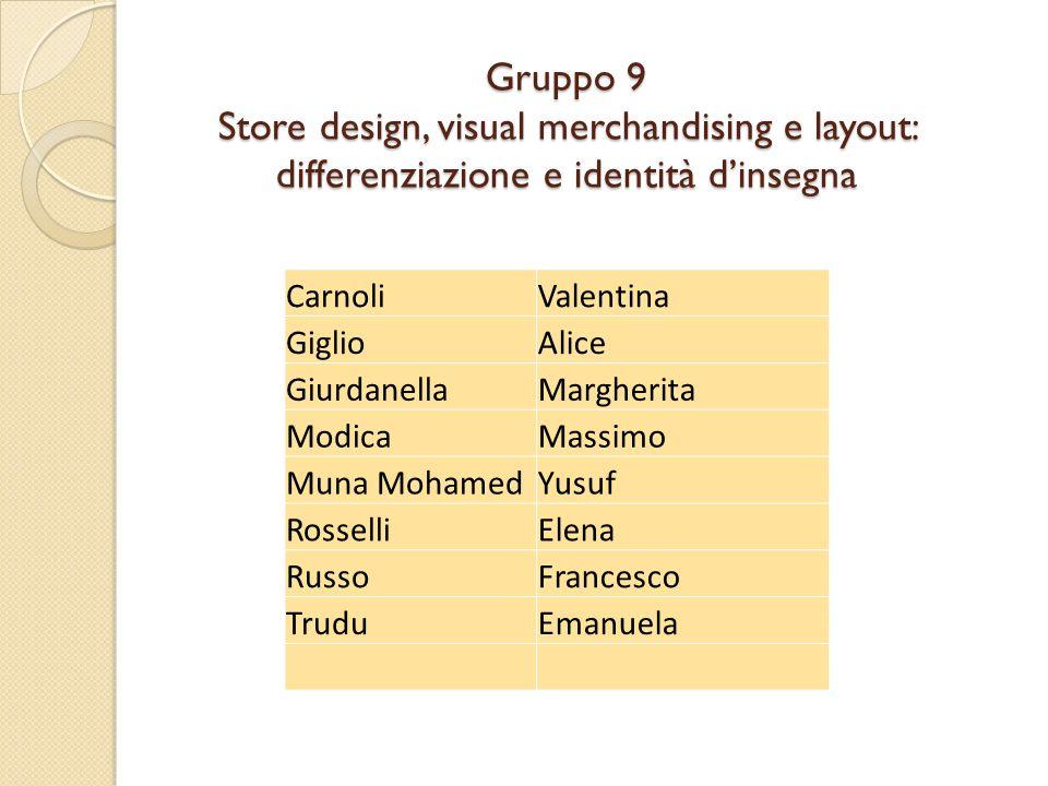 Gruppo 9 Store design, visual merchandising e layout: differenziazione e identità d'insegna CarnoliValentina GiglioAlice GiurdanellaMargherita ModicaM