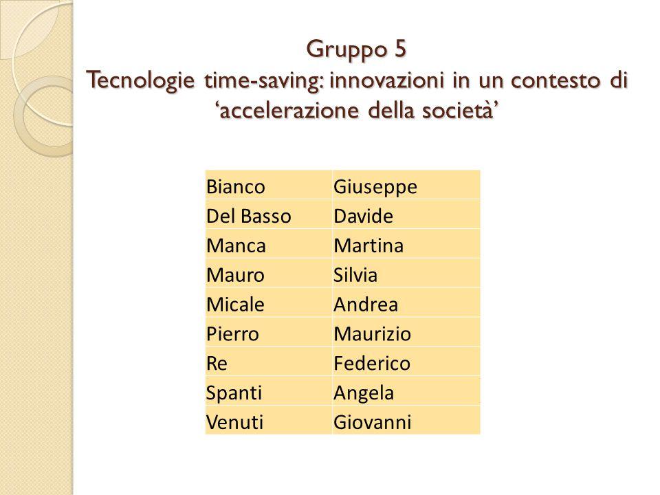 Gruppo 5 Tecnologie time-saving: innovazioni in un contesto di 'accelerazione della società' BiancoGiuseppe Del BassoDavide MancaMartina MauroSilvia M