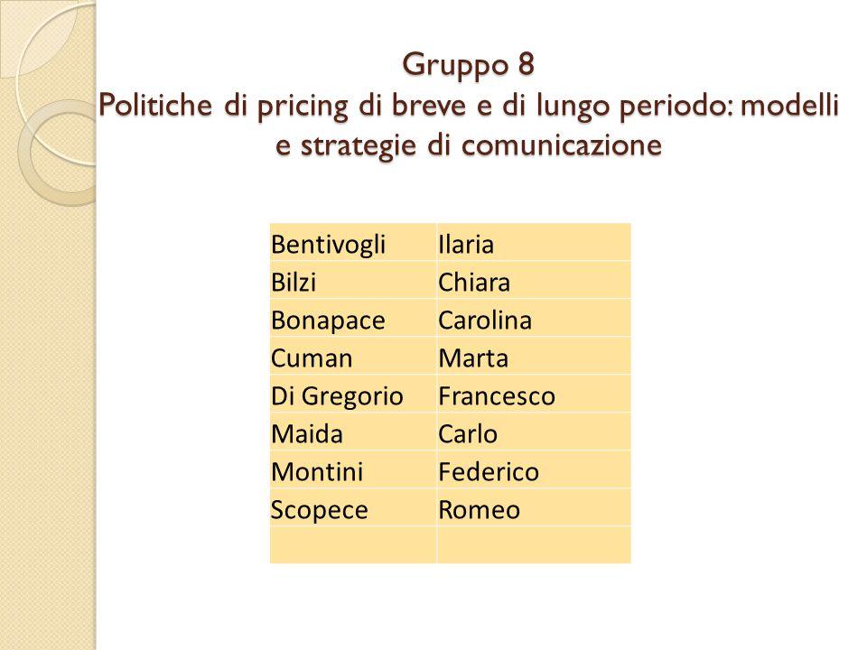 Gruppo 8 Politiche di pricing di breve e di lungo periodo: modelli e strategie di comunicazione BentivogliIlaria BilziChiara BonapaceCarolina CumanMar