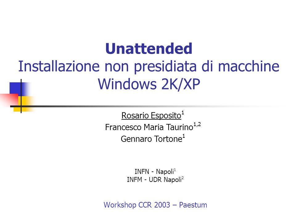 Unattended Installazione non presidiata di macchine Windows 2K/XP INFN - Napoli 1 INFM - UDR Napoli 2 Workshop CCR 2003 – Paestum Rosario Esposito 1 F