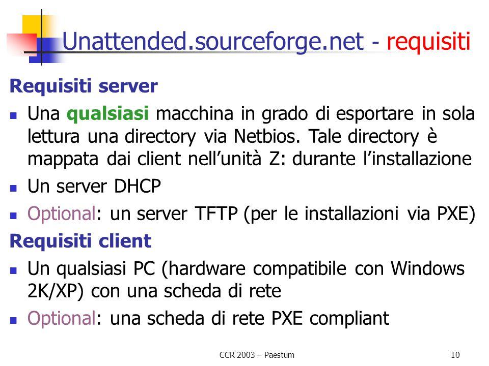 CCR 2003 – Paestum10 Unattended.sourceforge.net - requisiti Requisiti server Una qualsiasi macchina in grado di esportare in sola lettura una director