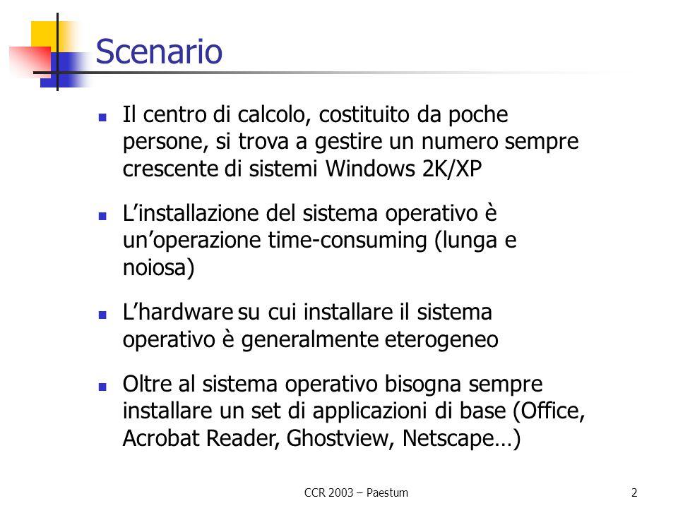 CCR 2003 – Paestum2 Scenario Il centro di calcolo, costituito da poche persone, si trova a gestire un numero sempre crescente di sistemi Windows 2K/XP