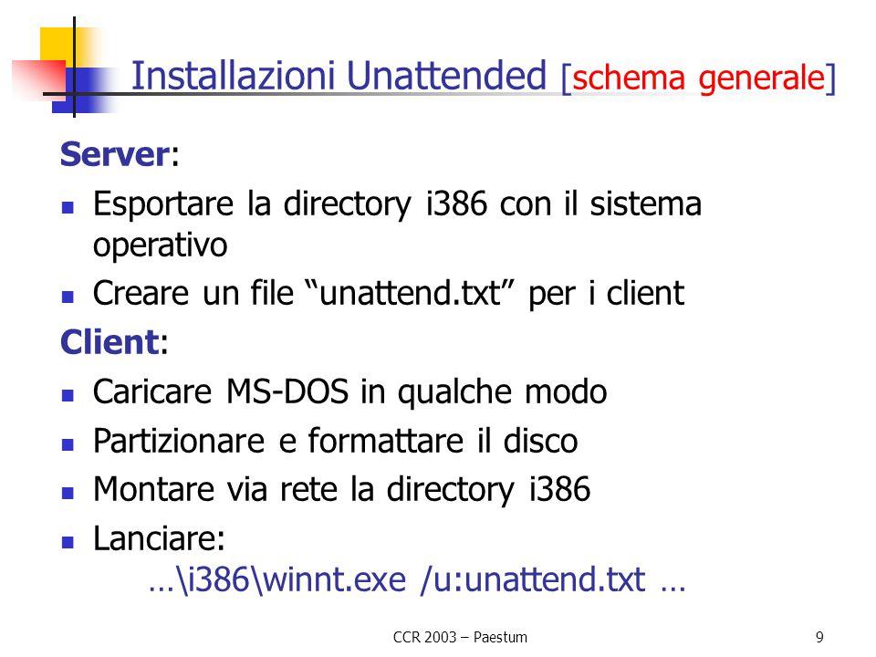 """CCR 2003 – Paestum9 Installazioni Unattended [schema generale] Server: Esportare la directory i386 con il sistema operativo Creare un file """"unattend.t"""