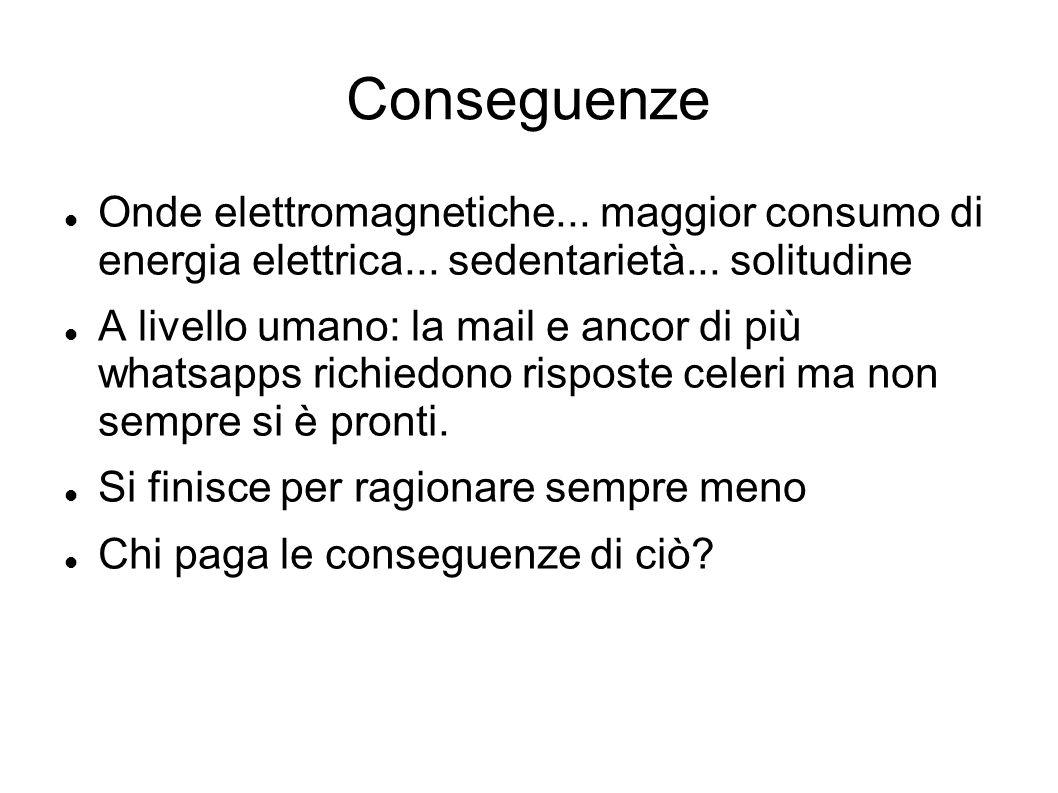 Conseguenze Onde elettromagnetiche... maggior consumo di energia elettrica... sedentarietà... solitudine A livello umano: la mail e ancor di più whats
