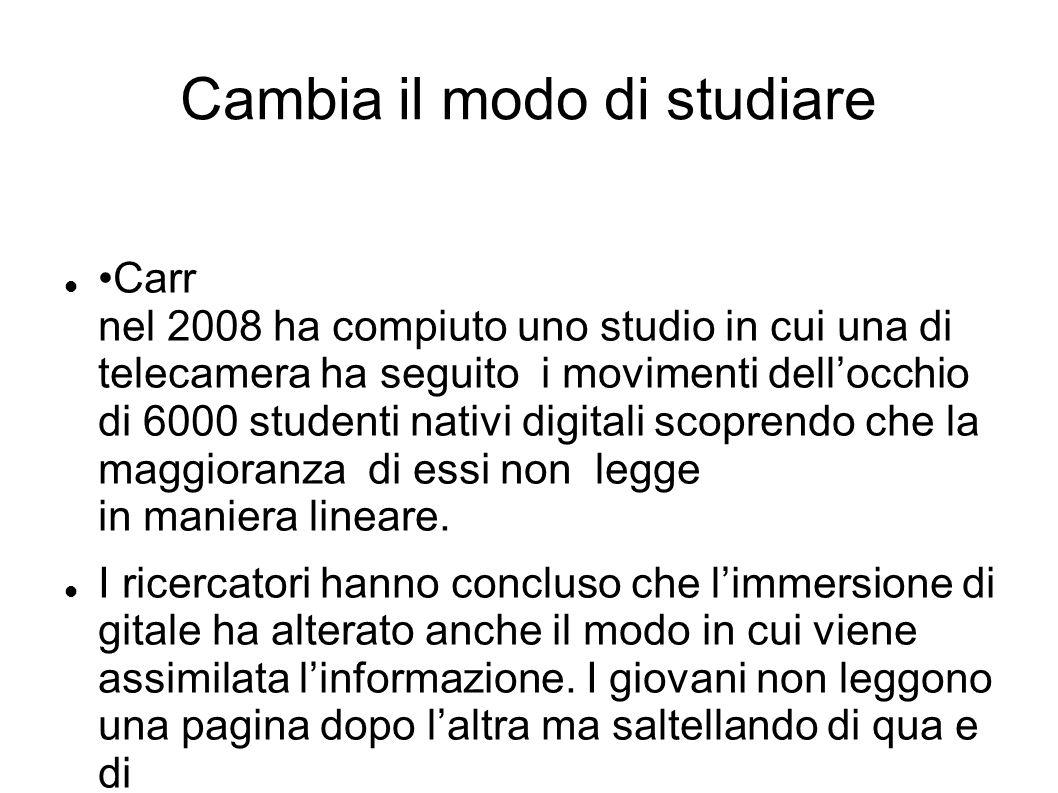 Cambia il modo di studiare Carr nel 2008 ha compiuto uno studio in cui una di telecamera ha seguito i movimenti dell'occhio di 6000 studenti nativi di