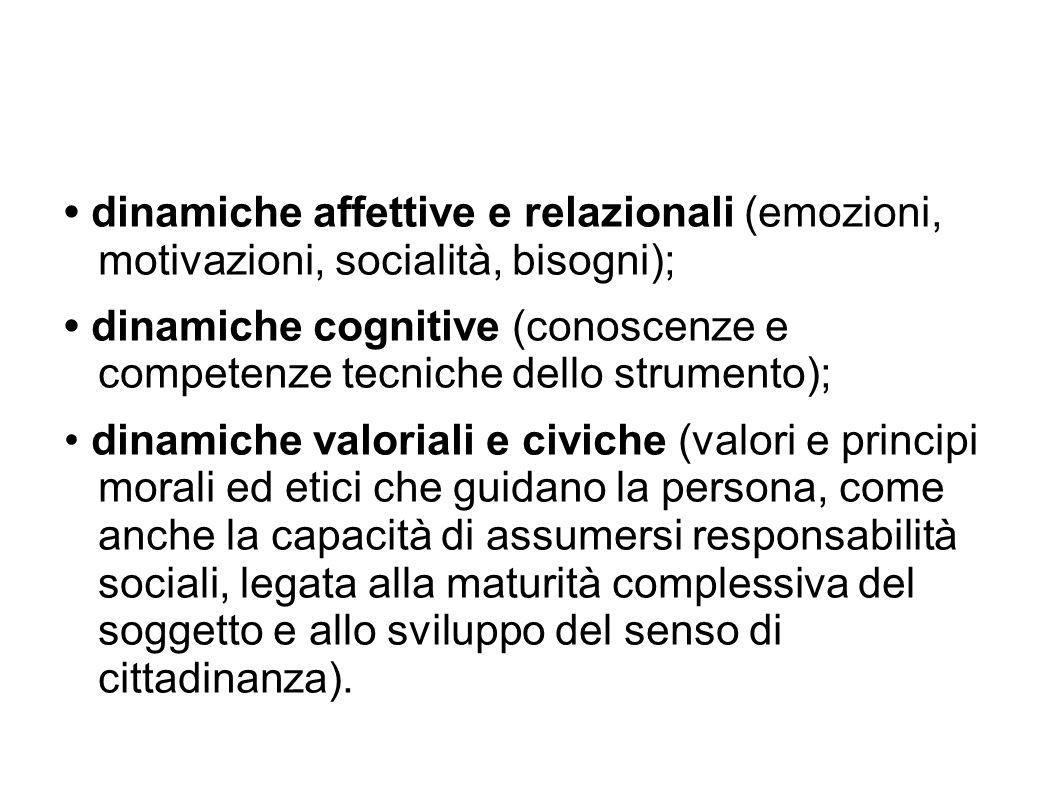 dinamiche affettive e relazionali (emozioni, motivazioni, socialità, bisogni); dinamiche cognitive (conoscenze e competenze tecniche dello strumento);