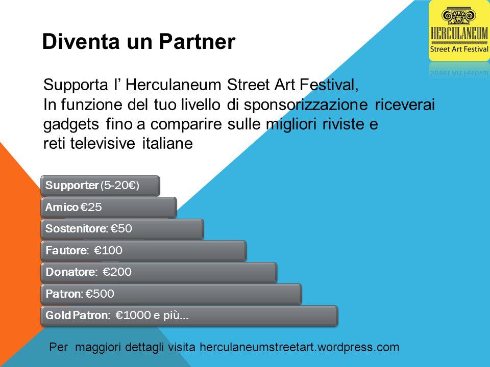 Supporter (5-20€)Amico €25Sostenitore: €50Fautore: €100Donatore: €200Patron: €500Gold Patron: €1000 e più… Supporta l' Herculaneum Street Art Festival