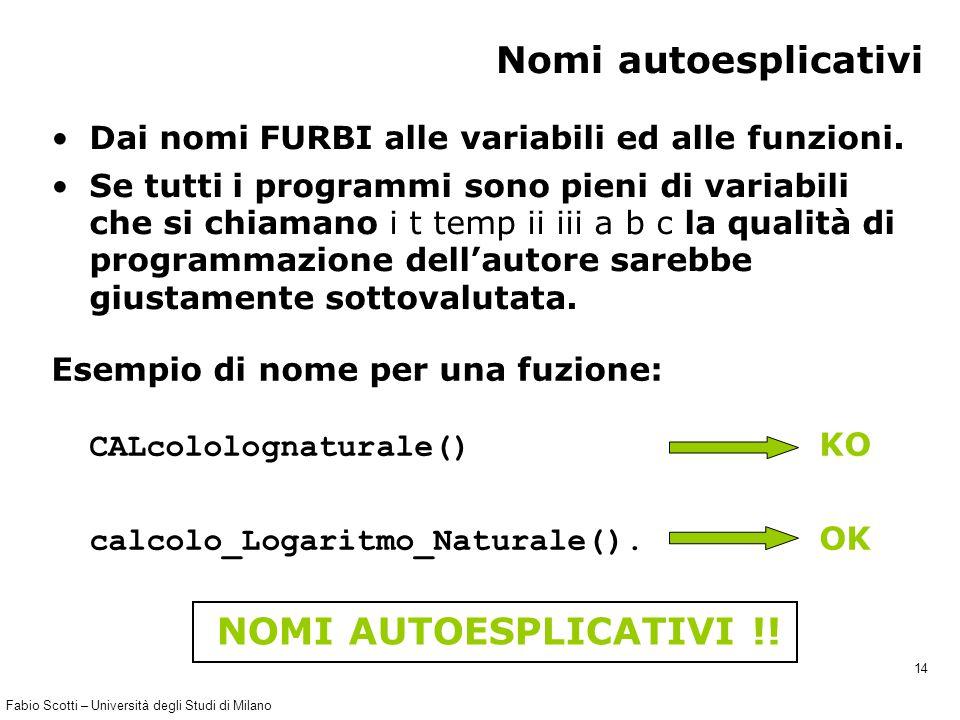 Fabio Scotti – Università degli Studi di Milano 14 Nomi autoesplicativi Dai nomi FURBI alle variabili ed alle funzioni. Se tutti i programmi sono pien