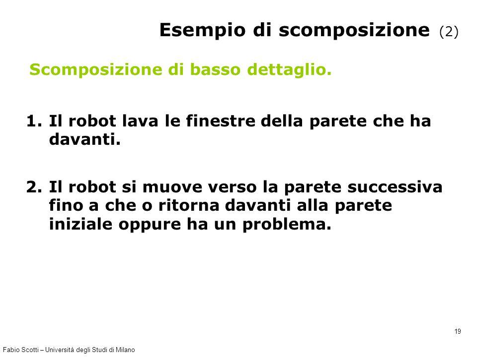 Fabio Scotti – Università degli Studi di Milano 19 Esempio di scomposizione (2) 1.Il robot lava le finestre della parete che ha davanti. 2.Il robot si