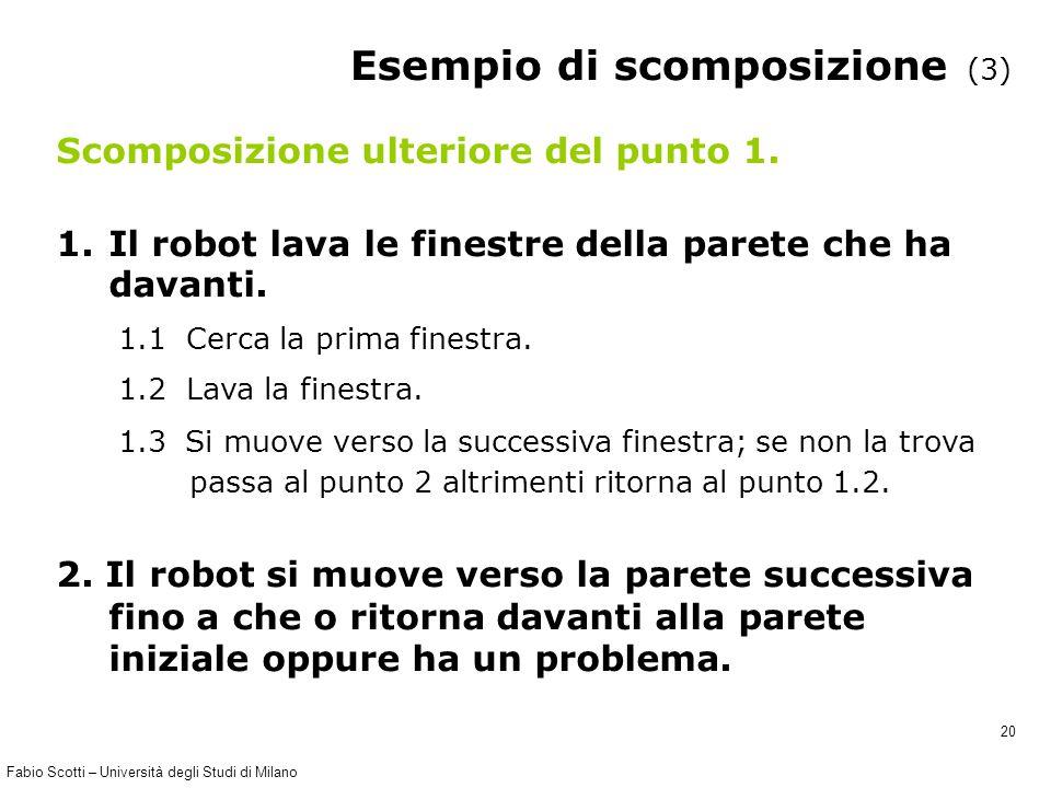 Fabio Scotti – Università degli Studi di Milano 20 Esempio di scomposizione (3) Scomposizione ulteriore del punto 1. 1.Il robot lava le finestre della