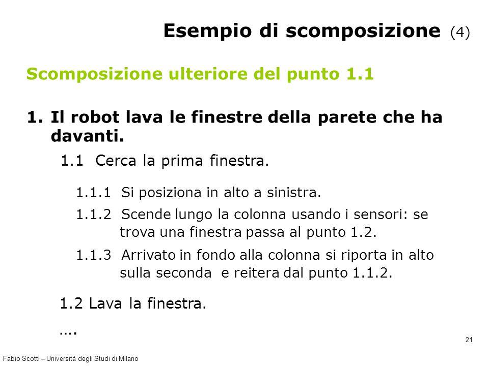 Fabio Scotti – Università degli Studi di Milano 21 Esempio di scomposizione (4) Scomposizione ulteriore del punto 1.1 1.Il robot lava le finestre della parete che ha davanti.