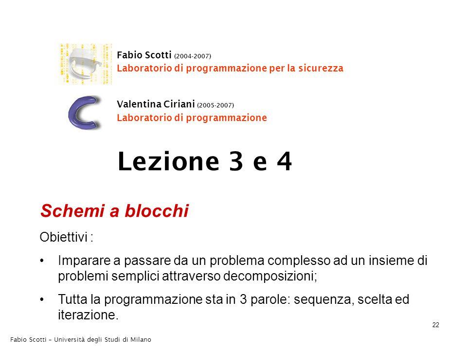 22 Fabio Scotti – Università degli Studi di Milano Schemi a blocchi Obiettivi : Imparare a passare da un problema complesso ad un insieme di problemi