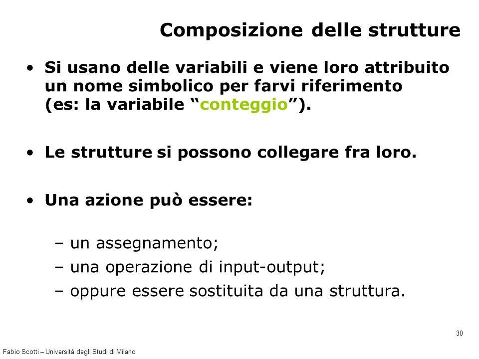 Fabio Scotti – Università degli Studi di Milano 30 Composizione delle strutture Si usano delle variabili e viene loro attribuito un nome simbolico per farvi riferimento (es: la variabile conteggio ).