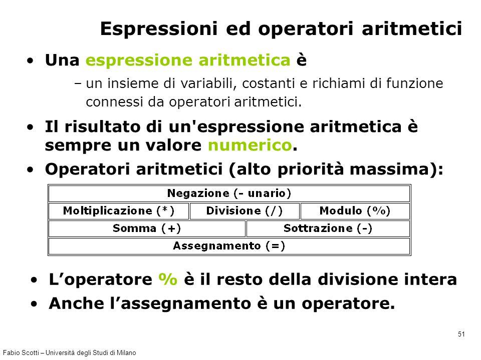 Fabio Scotti – Università degli Studi di Milano 51 Espressioni ed operatori aritmetici Una espressione aritmetica è –un insieme di variabili, costanti e richiami di funzione connessi da operatori aritmetici.