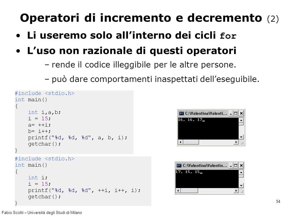 Fabio Scotti – Università degli Studi di Milano 54 Operatori di incremento e decremento (2) Li useremo solo all'interno dei cicli for L'uso non razion