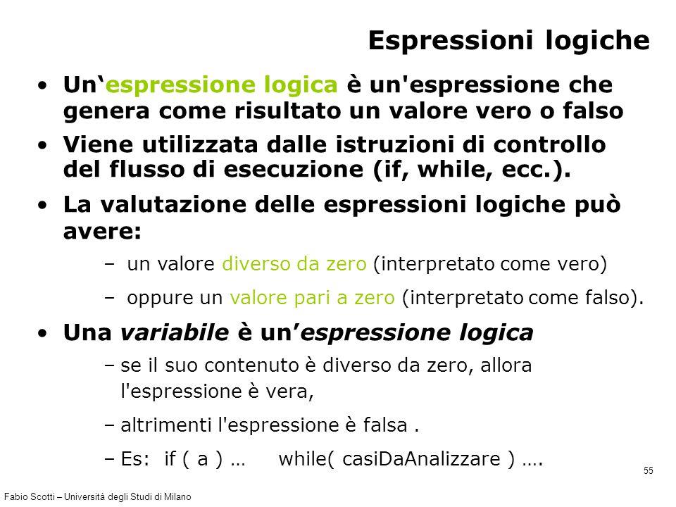 Fabio Scotti – Università degli Studi di Milano 55 Espressioni logiche Un'espressione logica è un'espressione che genera come risultato un valore vero
